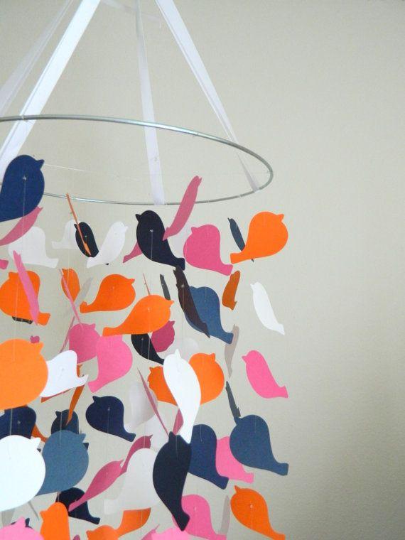 De geruite vogel mobiele / / / kwekerij Decor door OllieandPenny