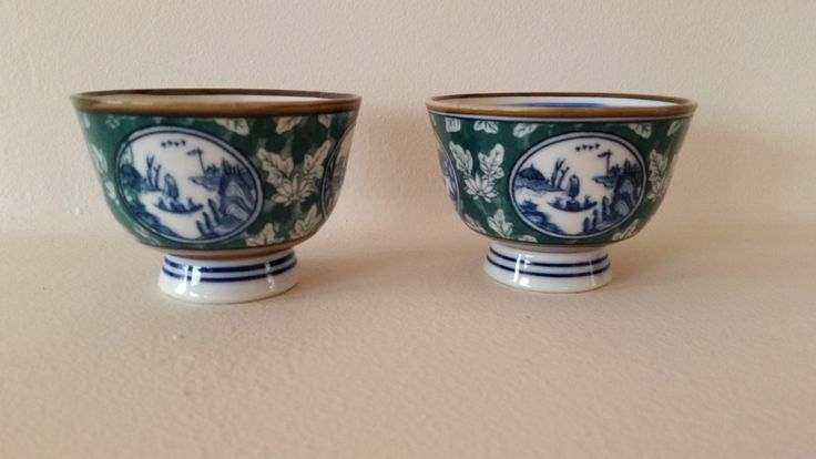Matching Asian Teacups - Rice Bowls - Handpainted Fine Porcelain - Matching Pair- Signed - China Japan - Sushi - Blue White with Green by PotsandPetticoats on Etsy
