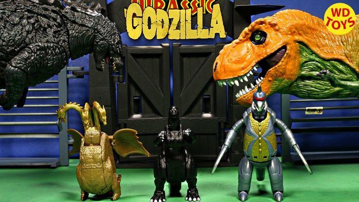 New 3 Godzilla Transforming Eggs Vs T-Rex Jurassic Park / Gigan, King Ch...