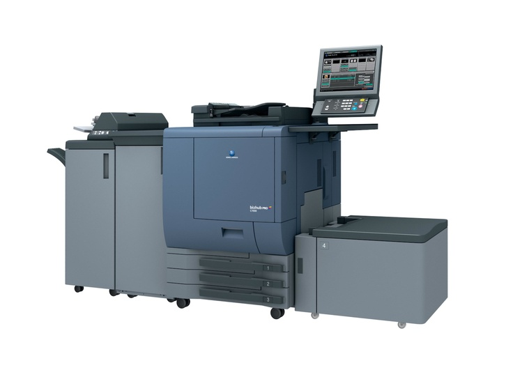 Konica Minolta's C6000 in Professional configuration. Featuring true 1200 dpi 8 bit colour output, it also can be upgraded on site into an even more powerful production printing system.