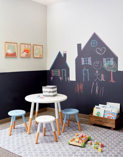 super creative idea for the kids playroom - house shaped blackboard paint on the walls