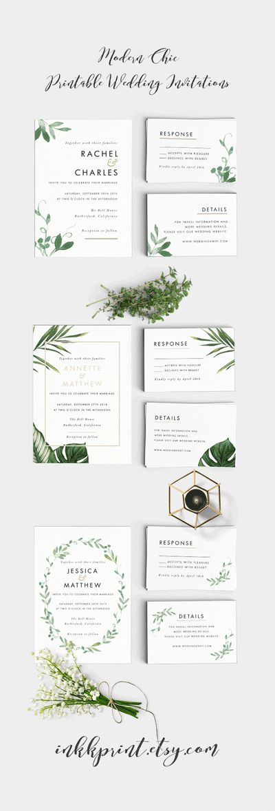 Modern Botanical Wedding Invitation Suite #wedding #invitations