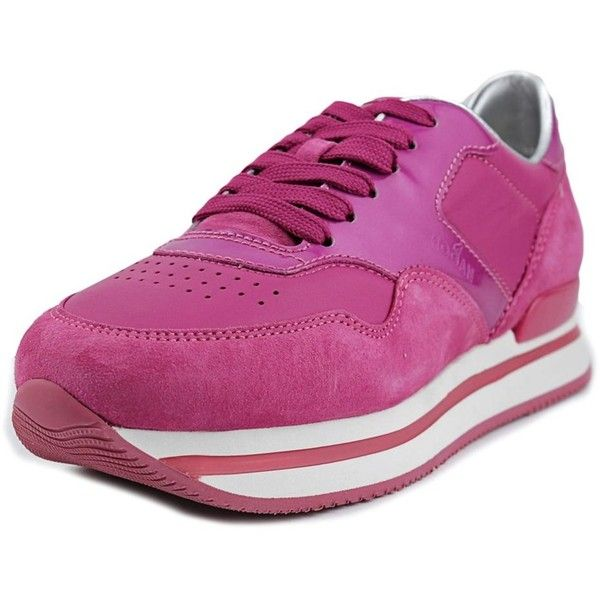 Hogan Hogan H222 Allacciato Women Suede Pink Fashion Sneakers |... ($162) ❤ liked on Polyvore featuring shoes, sneakers, pink, suede trainers, hogan shoes, traction shoes, grip shoes and pink flats