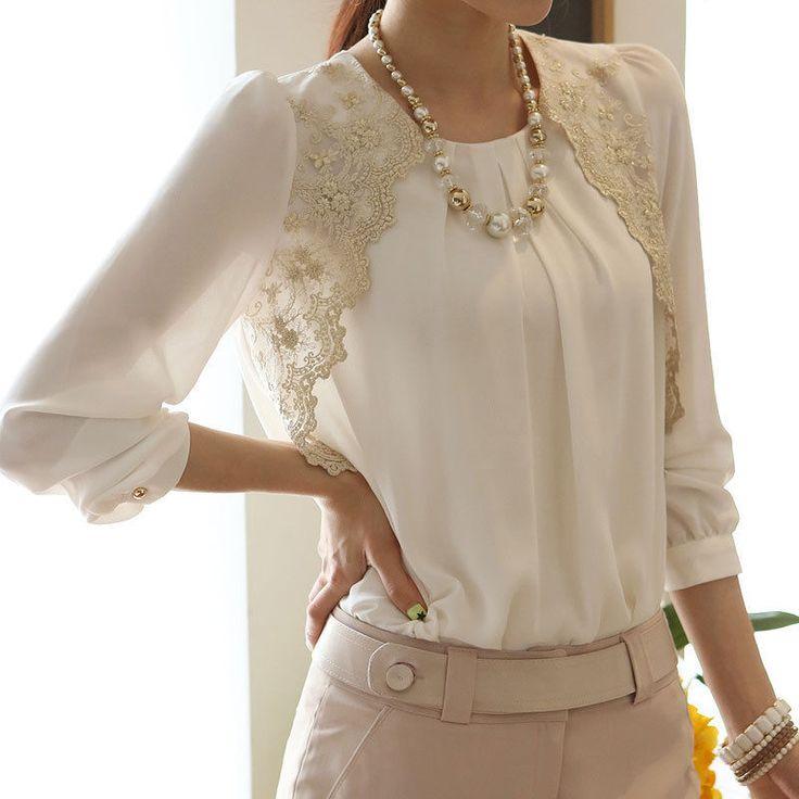 Elegante Mujer Blanco Manga Larga Bordado Gasa Casual Tops Blusa Camisa Bfc in Ropa, calzado y accesorios, Ropa para mujer, Tops y blusas   eBay