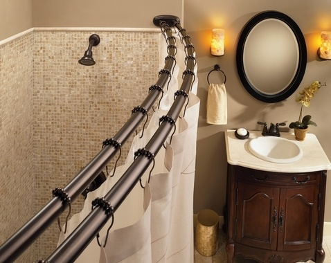 If it's not walk-in or glass front, this double rod with white sailcloth shower curtain