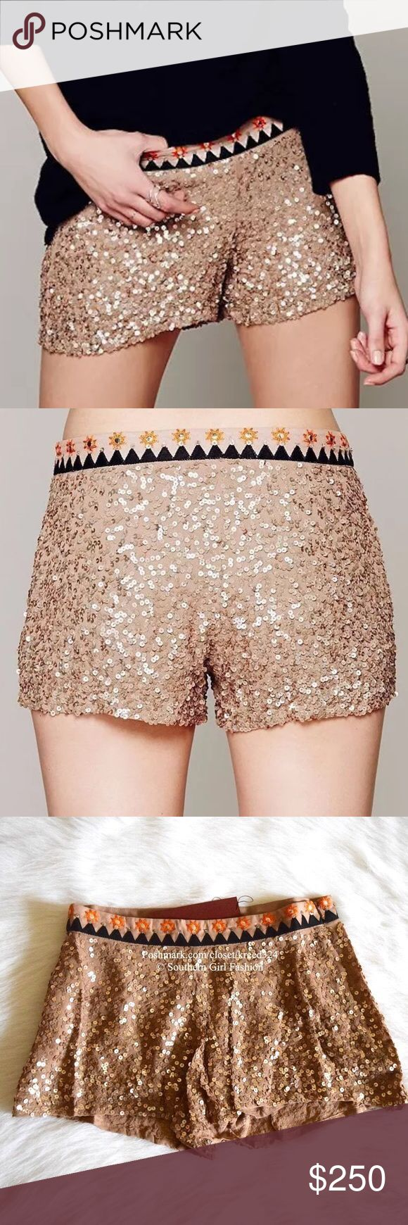 FREE PEOPLE Shorts Embroidered Mirror Sequin Boho Available Sizes: XS, S, M. New with tags.  $198 Retail + Tax.  • Beautiful and sophisticated, these sequin embellished mini shorts feature intricate geometric embroidery at waistline with hidden side zip closure.  • By WILDHEART for Free People. • 100% Rayon. • Measurements are provided in comment(s) section below.  {Southern Girl Fashion - Closet Policy}  ✔️ Same-Business-Day Shipping (10am CT). ✔️ Reasonable best offer considered when…