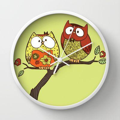 Decorative Owls Wall Clock by Sheena Hisiro
