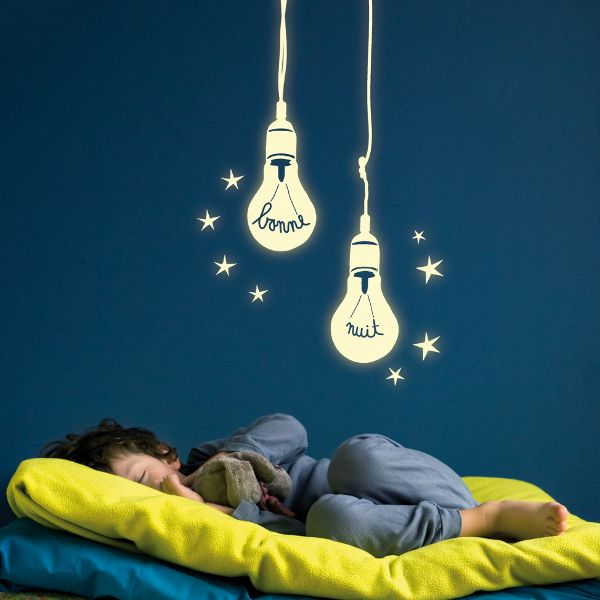 Glow in The Dark Bonne Nuit Bulbs wall decals! This is not only a decorative sticker, it's also a phosphorescent night light for kids, which glows in the dark when you switch off the light providing comfort during night hours.