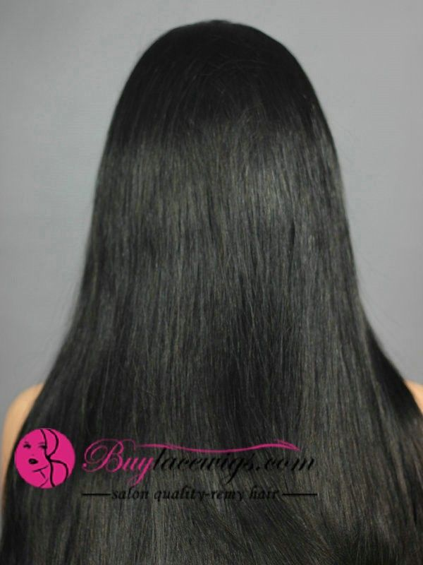 24 Inch #1 Jet Black Lace Front High Quality Wigs