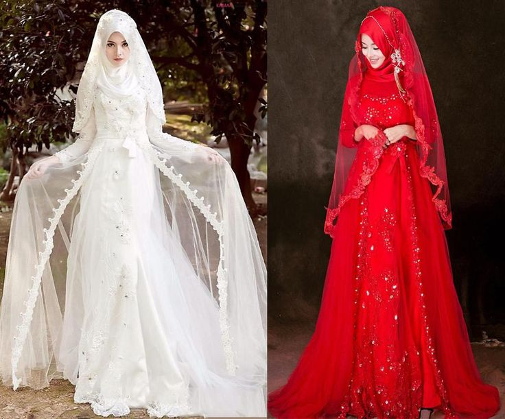 2015 Muslim Bride Wedding Dresses White/red Lace Applique Beaded Embroidery Silk Veil A-Line Floor-length Party Dressess from Gonewithwind,$113.09 | DHgate.com