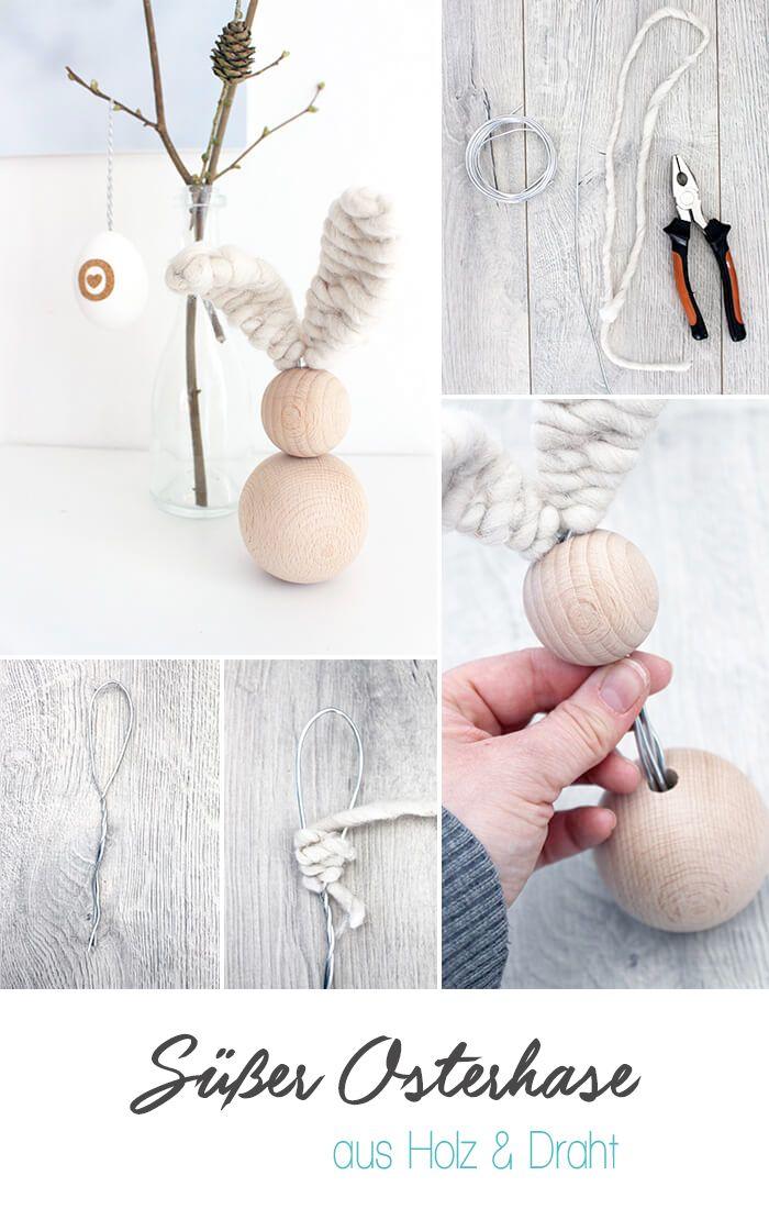 DIY, Gingered Things, Osterhase, Draht, Holz, Deko, Ostern
