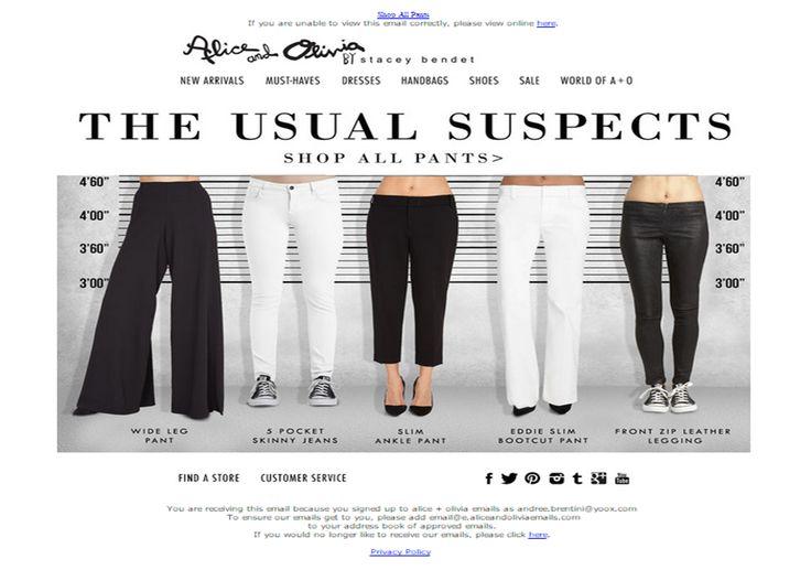"""SUB: Shop our pants! Carino soprattutto il lancio con l'immagine dei vari modelli di pantaloni """"ricercati""""..."""