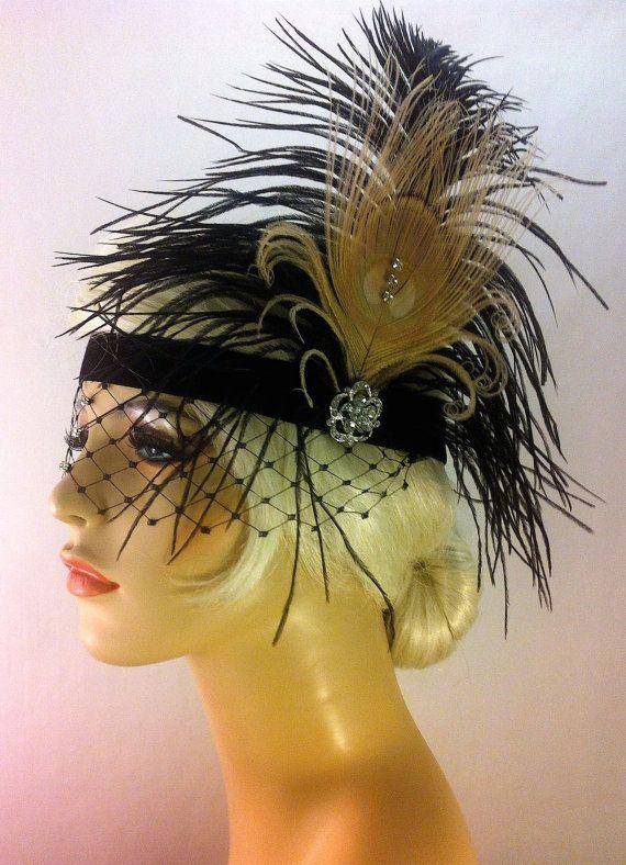 Flapper Headband,1920s Head Piece, Art Deco Headband, Ivory Peacock Feather, Black Ostrich Plumes, Rhinestone Mask, Great Gatsby, SHIP READY...