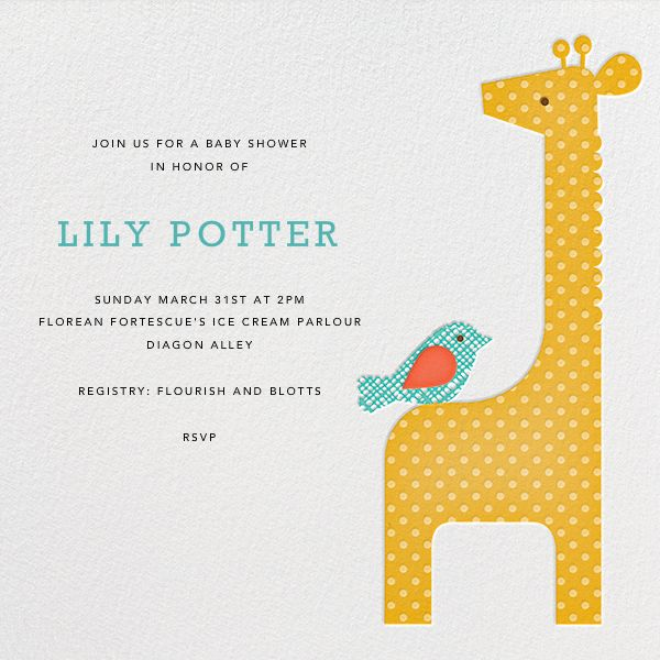 giraffe by petit collage for paperless post design custom baby shower