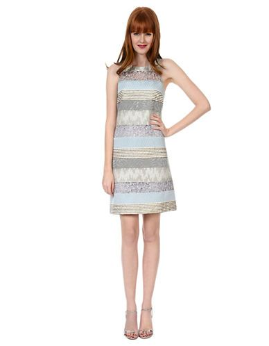 Party cocktail mixed media stripe shift dress lord and taylor