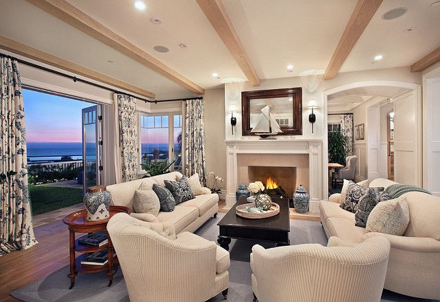 This is my style! I love everything in this space… the decor is perfect and that view is simply divine!  Furnishings are by Bliss Linens in Corona Del Mar, CA.