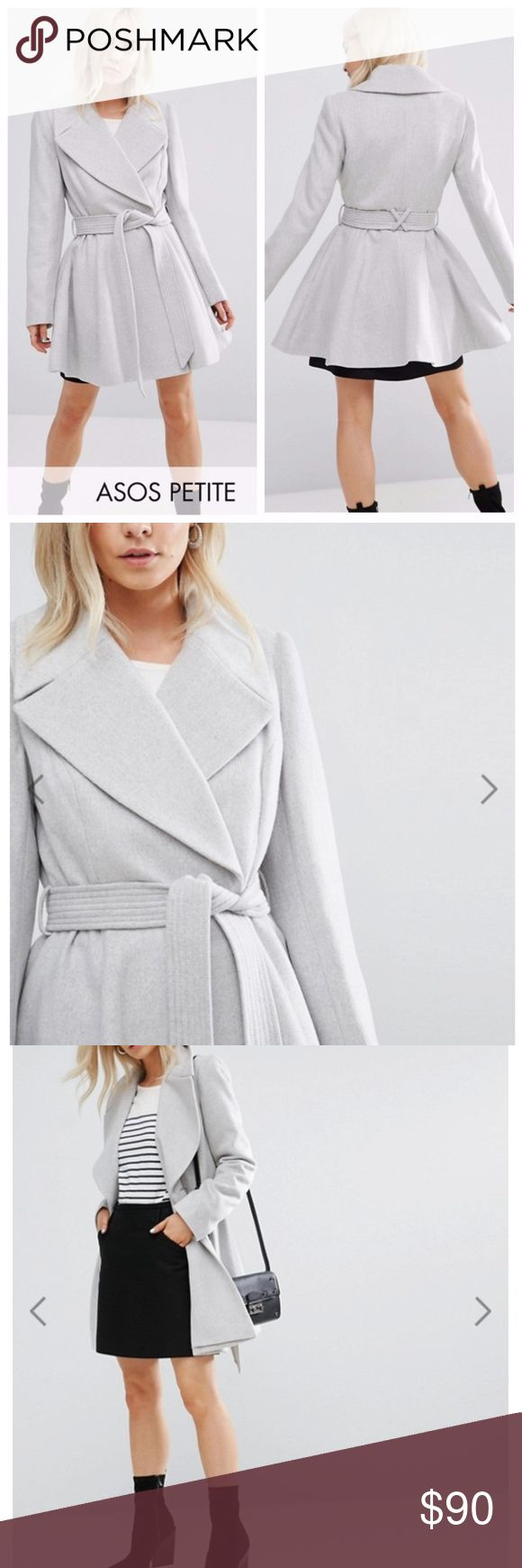 """ASOS PETITE Belted Flare Coat Petite coat by ASOS PETITE Oversized collar Collared coat Skater coat Wool-mix woven fabric Oversized notch lapels Self-tie waist belt Fit-and-flare design Regular fit - true to size Dry clean 45% Polyester, 34% Acrylic, 12% Wool, 6% Nylon, 3% Viscose Model wears a UK 8/EU 36/US 4 and is 163cm/5'4"""" tall ASOS Petite Jackets & Coats Pea Coats"""
