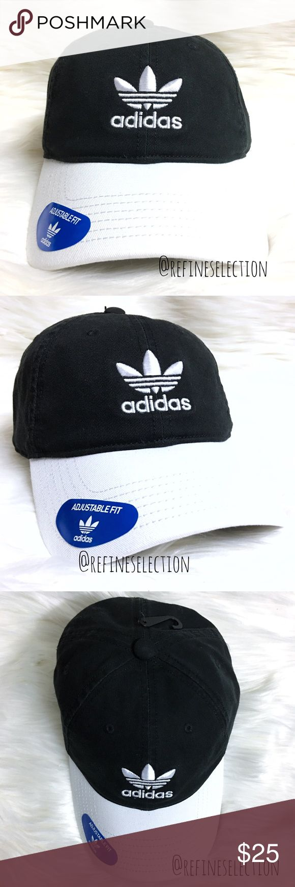 adidas Black And White Relaxed Strapback Dad Hat Brand new with tags, Adult, Unisex, One Size. This Adidas Originals Trefoil Black And White Relaxed Strapback Dad Hat Cap is a must have! Black with the Adidas Trefoil logo embroidered in white on the front and back. Adjustable strapback for the perfect fit! Interior is lined with blue and white pinstripe fabric and Adidas Trefoil trim. White on the brim. adidas Accessories Hats