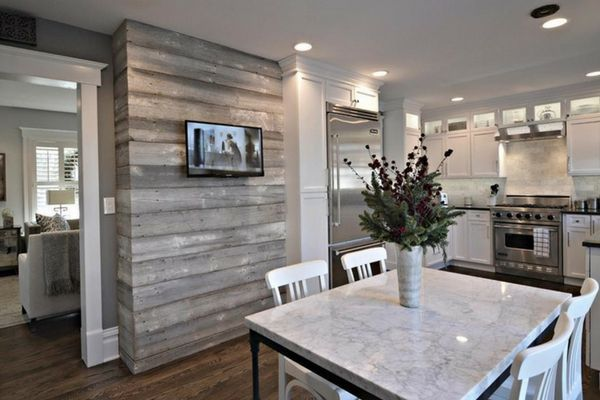 Gray Shiplap Accent Wall In Kitchen For Modern Style Accent