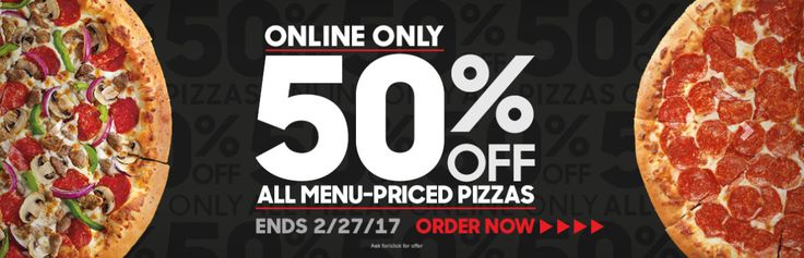 Pizza Hut is offering 50% off all regular menu priced pizzas when you order online!