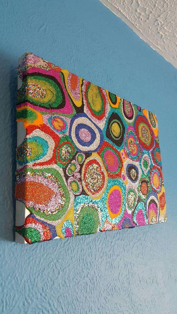 Glitter Painting Mixed Media Original Abstract Artwork