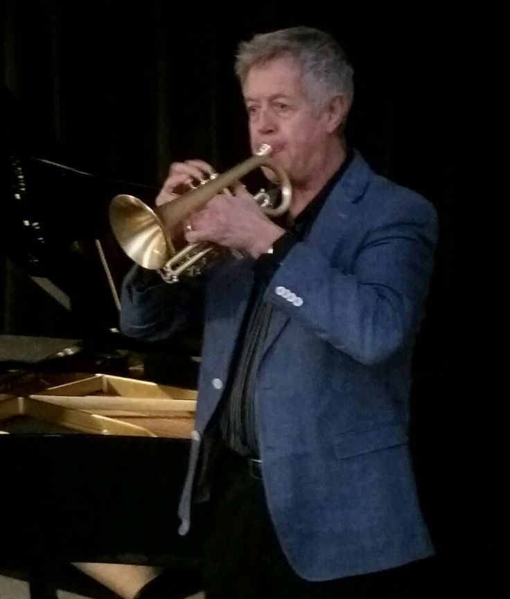 Theo Hartman trumpeter with Triple Berry Trio performing on his new cornet
