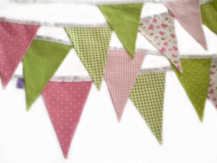 festoni in tessuto di cotone, Rosa, verde : Cameretta bambino, bebè di lutteluud