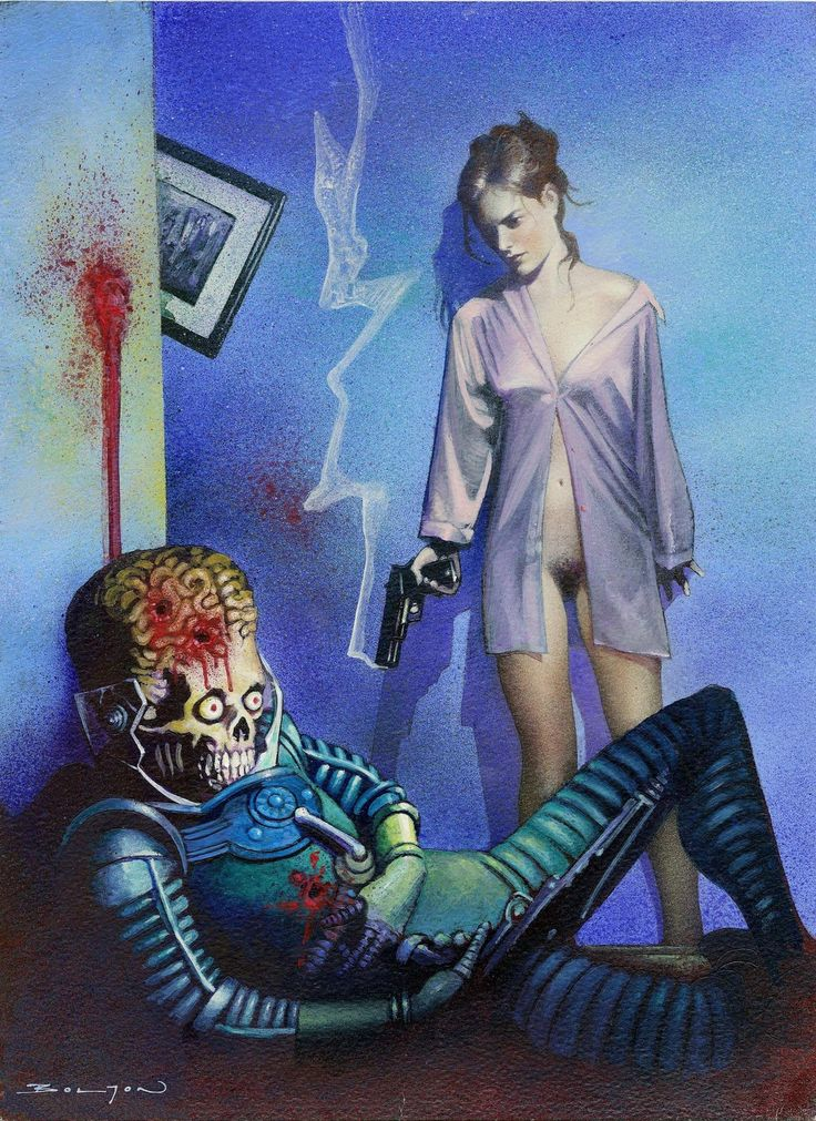 """Woman Blasts Martian"" by John Bolton for 1994 Topps Mars Attacks Archives card set"
