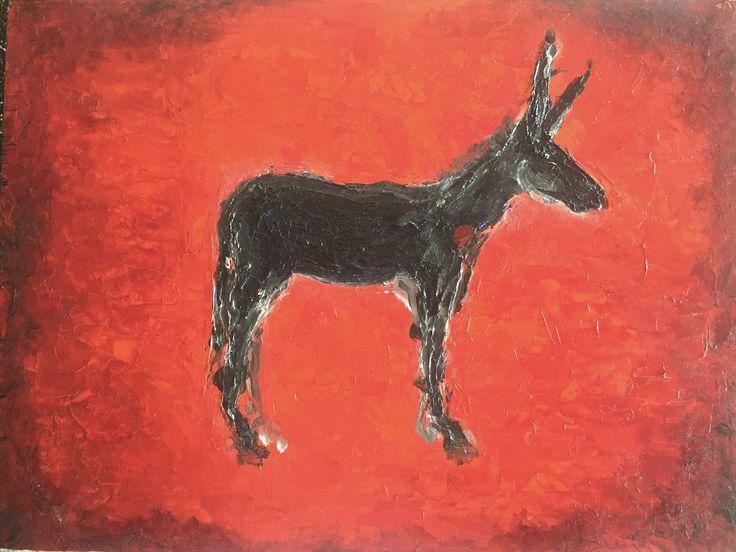 Red Mule - oil on board 30 x 40cm - unframed #artforsale #originalart