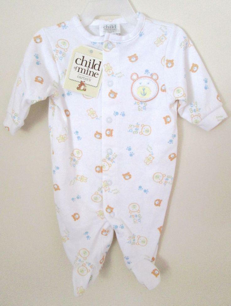 NWT Carter's Child of Mine Baby Sleeper Newborn Size White Teddy Bear Print  #Carters #OnePiece