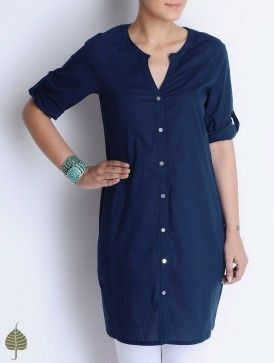 Like the cut! Deep Blue Button Detailed Cotton Tunic by Jaypore