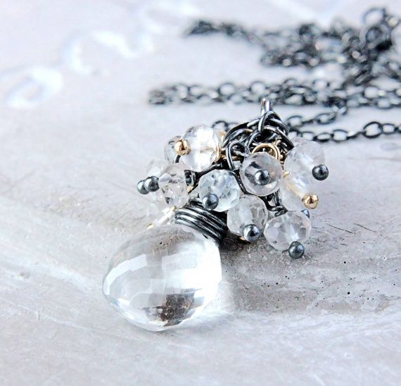 Cluster Necklace Clear Quartz Necklace Mixed Metal by Hildes