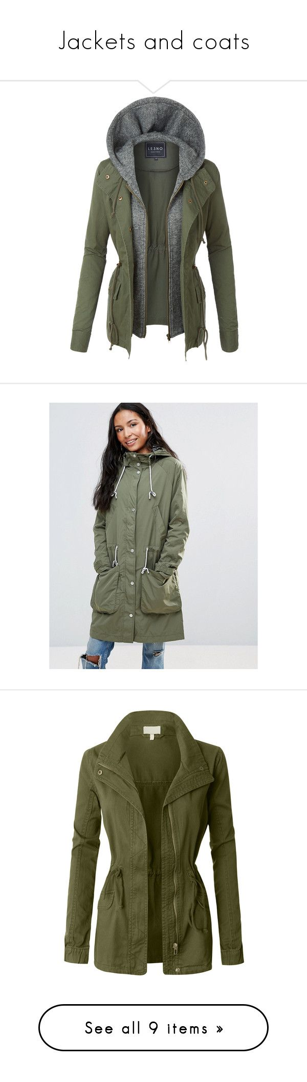 """""""Jackets and coats"""" by jenniferdubt-jd ❤ liked on Polyvore featuring outerwear, jackets, lightweight jackets, lightweight anorak jacket, safari jackets, military style jacket, lightweight military jacket, green, lightweight zip jacket and green parkas"""