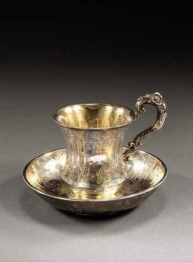 SILVER-GILT CUP AND SAUCER, MAKER'S MARK OF KARL SEIPEL, ST. PETERSBURG, 1848