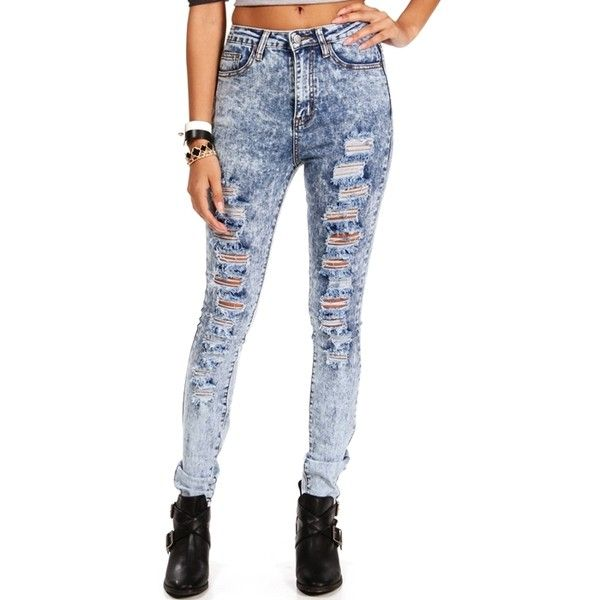Blue Acid Wash High Waist Jeans ($18) ❤ liked on Polyvore featuring jeans, pants, blue, high-waisted jeans, blue ripped jeans, high waisted acid wash jeans, destructed jeans and high waisted blue jeans