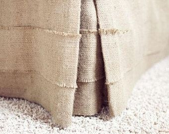 "Pleated burlap bed skirt, King size, 76""x80"", rustic bedroom look, natural burlap bedskirt, Choose the drop"