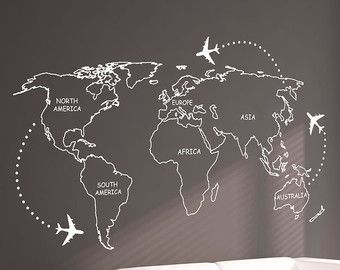 LARGE World Map Wall Decal Sticker 7ft x 3.47ft Vinyl by Wallboss