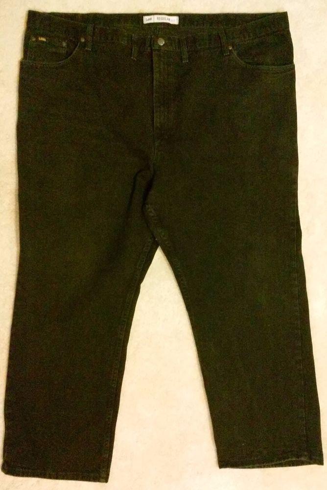 Lee Mens Big & Tall Jeans Size 52 X 30 Black 100% Cotton Regular Fit Baggy Loose #Lee #BaggyLoose