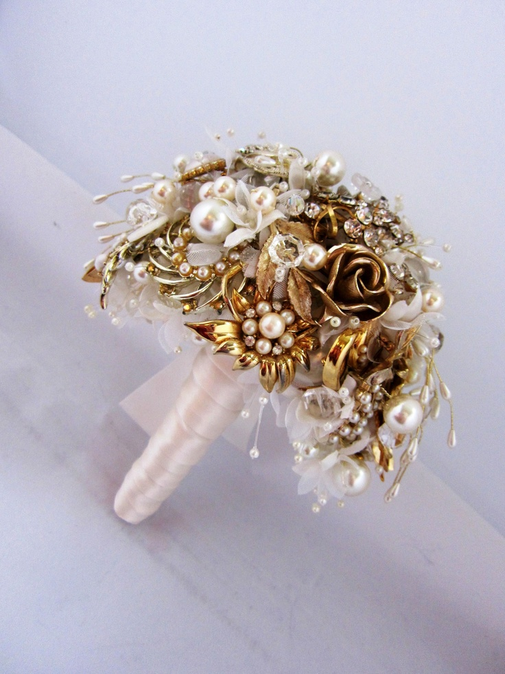 Gold tone waterfall brooch bouquet by Debbie Carlisle www.dcbouquets.co.uk