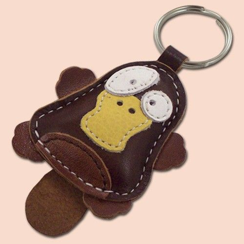 Cute little platypus animal leather keychain by snis on Etsy