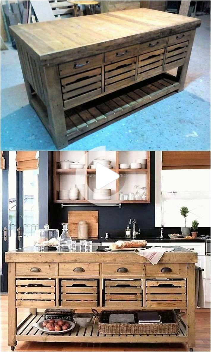 Armoires De Cuisine En Bois De Palettes In 2020 Pallet Kitchen Cabinets Kitchen Design Diy New Kitchen Cabinets