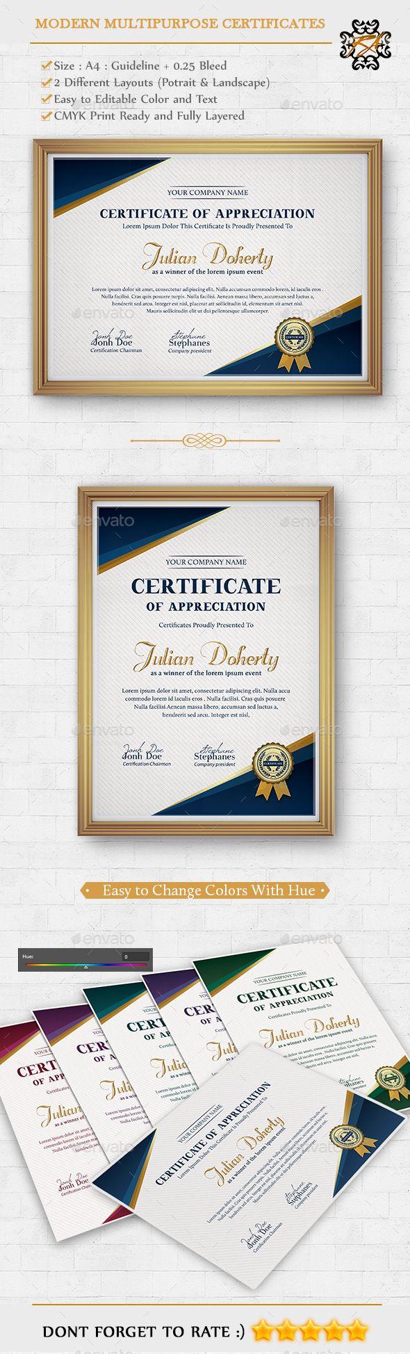Modern Multipurpose Certificates Template PSD