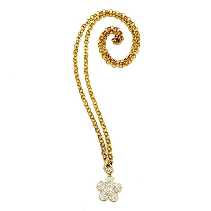 "Ashley Gold Sterling Silver Gold Vermeil CZ Flower Necklace  CZ Flower Necklace Sterling Silver Gold Vermeil CZ Flower - 1.25"" 5.5 gram 36"" chain"
