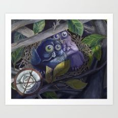 Owl Art Print https://society6.com/search/prints?q=owl&page=2 #society6 #owl #owls #humor #animal #animals #caracter design #painting #Animal