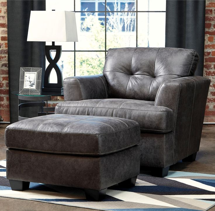 inmon faux leather chair u0026 ottoman by benchcraft at rooms and rest