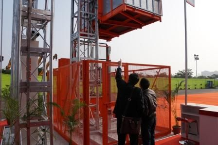 Everest Engineering Equipment Pvt Ltd at Bauma India 2014. Passenger Hoist in operation demo