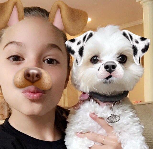 Mackenzie and Malabo doing dog Snapchat