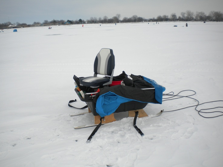 My shanty on the smitty sled for Ice fishing sled ideas
