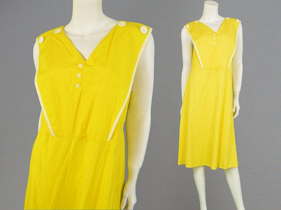 Vintage 70s 60s Mod Dress Yellow & White Shift Dress Sailor Collar Mesh Back Womens Medium Midi Dress Sleeveless Dress 1960s Style Bright