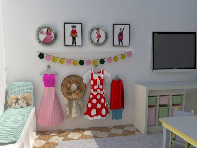 Proyecto para crear un playroom aprovechando todo lo que teníamos en el espacio, creando distintas zonas de juego. Zona de disfraces.
